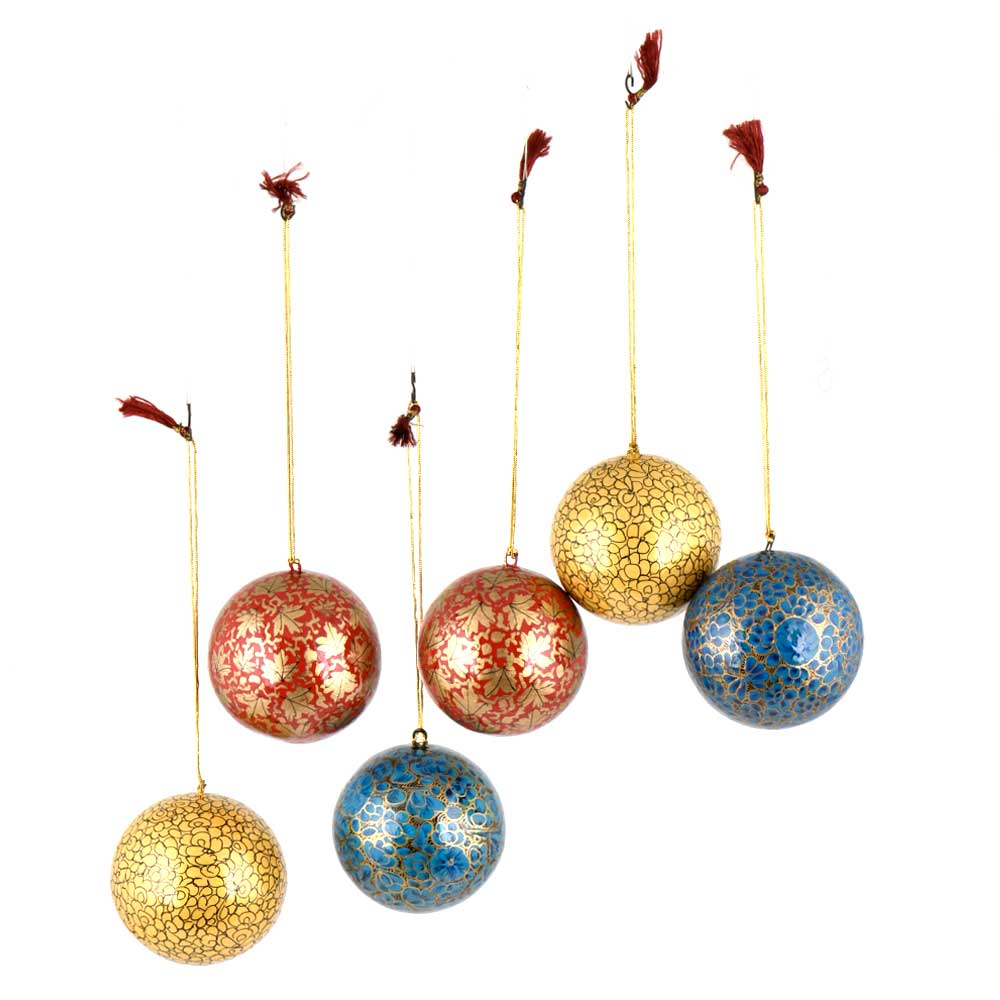 Hand Painted Paper Mache Blue Yellow Red Ball Ornaments Golden Leafy Pattern (Set Of 6)
