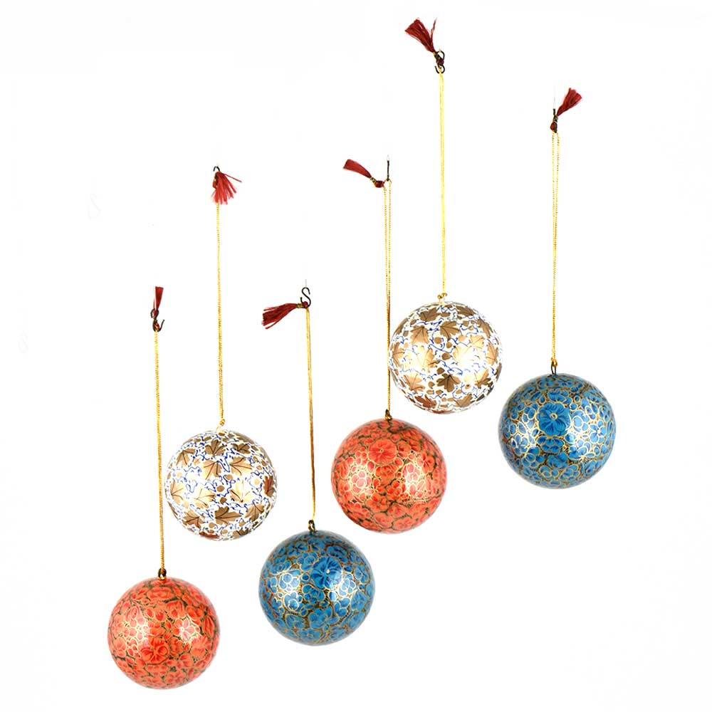 Hand Painted Paper Mache Balls Deep Coral Blossoms Golden Leaves And Outline (Set of 6)