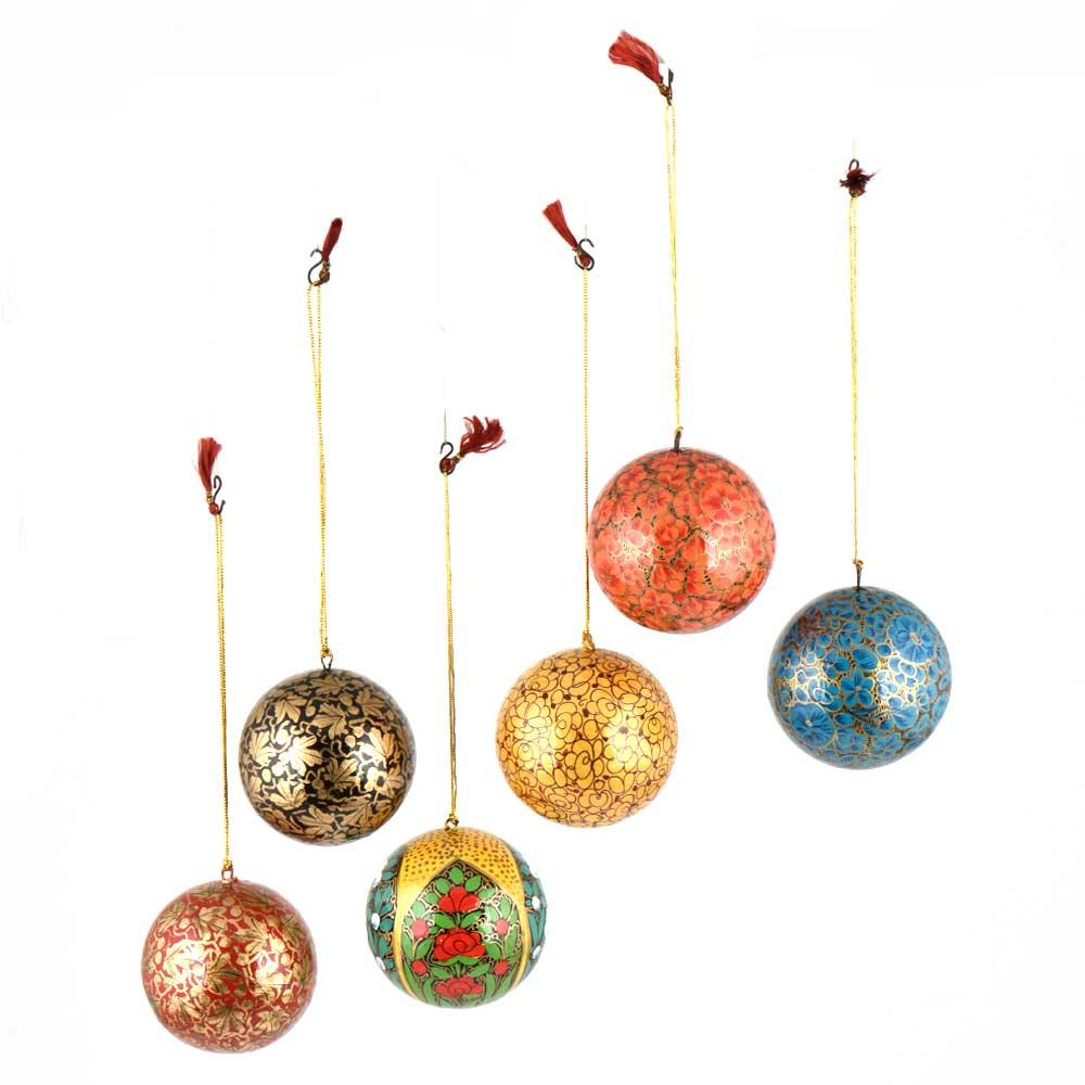 Multicolored Paper Mache Balls Ornaments Handpainted Floral Motifs (Set of 6)