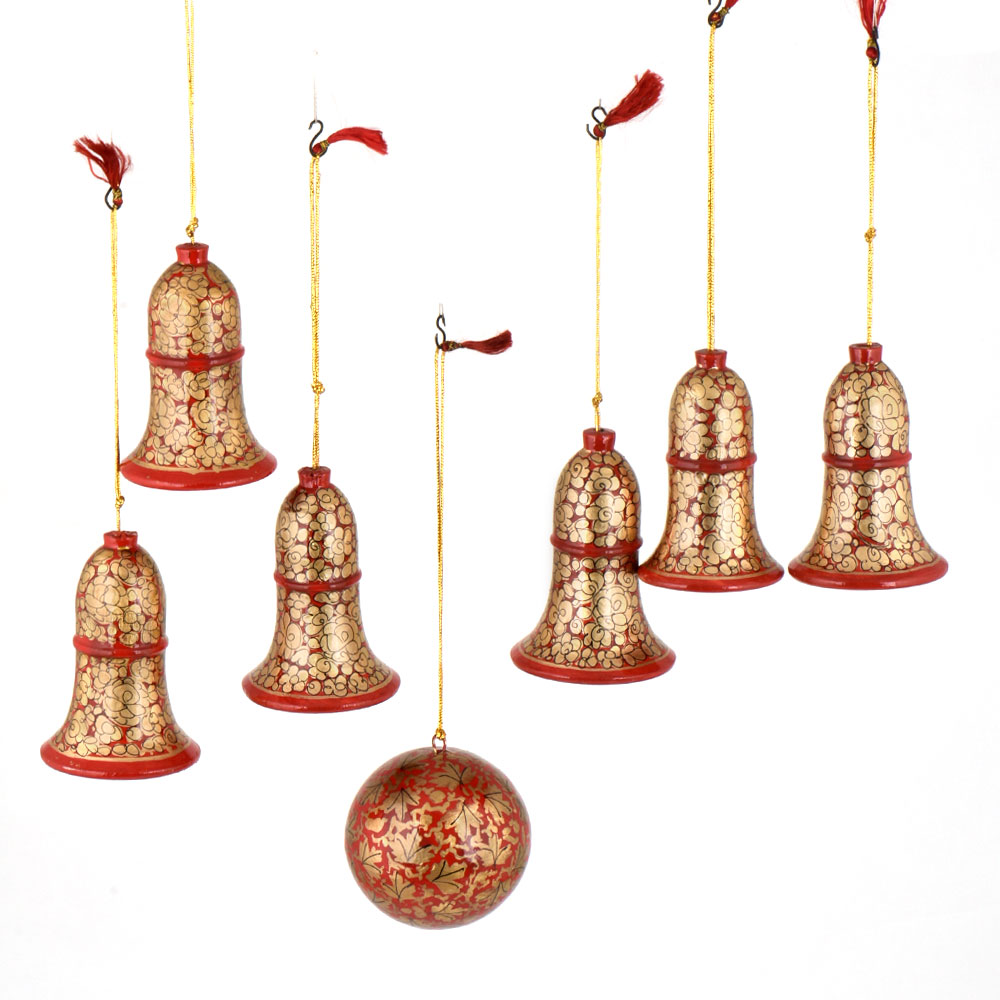 Red Floral Jingle Bell Paper Mache Christmas Ornaments (Set Of 7)