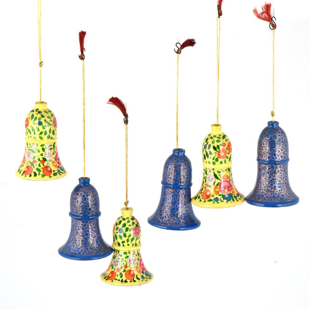 Handcrafted paper Mache Bell Christmas Ornaments Yellow And Blue Floral Design Hangings (Set OF 6)