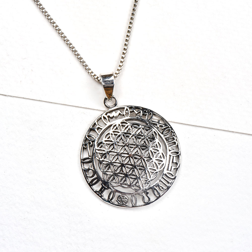 92.5 Sterling Silver Pendant Sacred Flower Of Life And Circular Ring Of Zodiac Signs