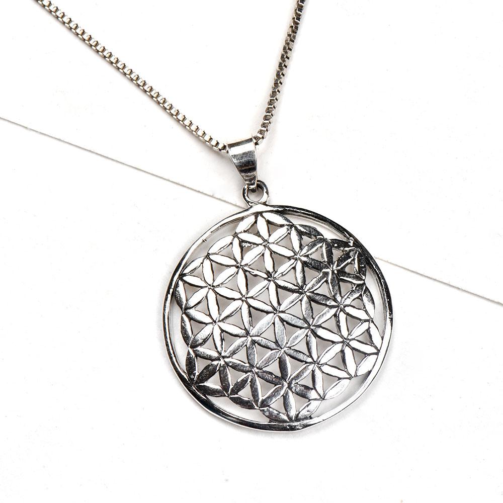92.5 Sterling Silver Pendant Round Sacred Flower Of life In Hexagonal Design