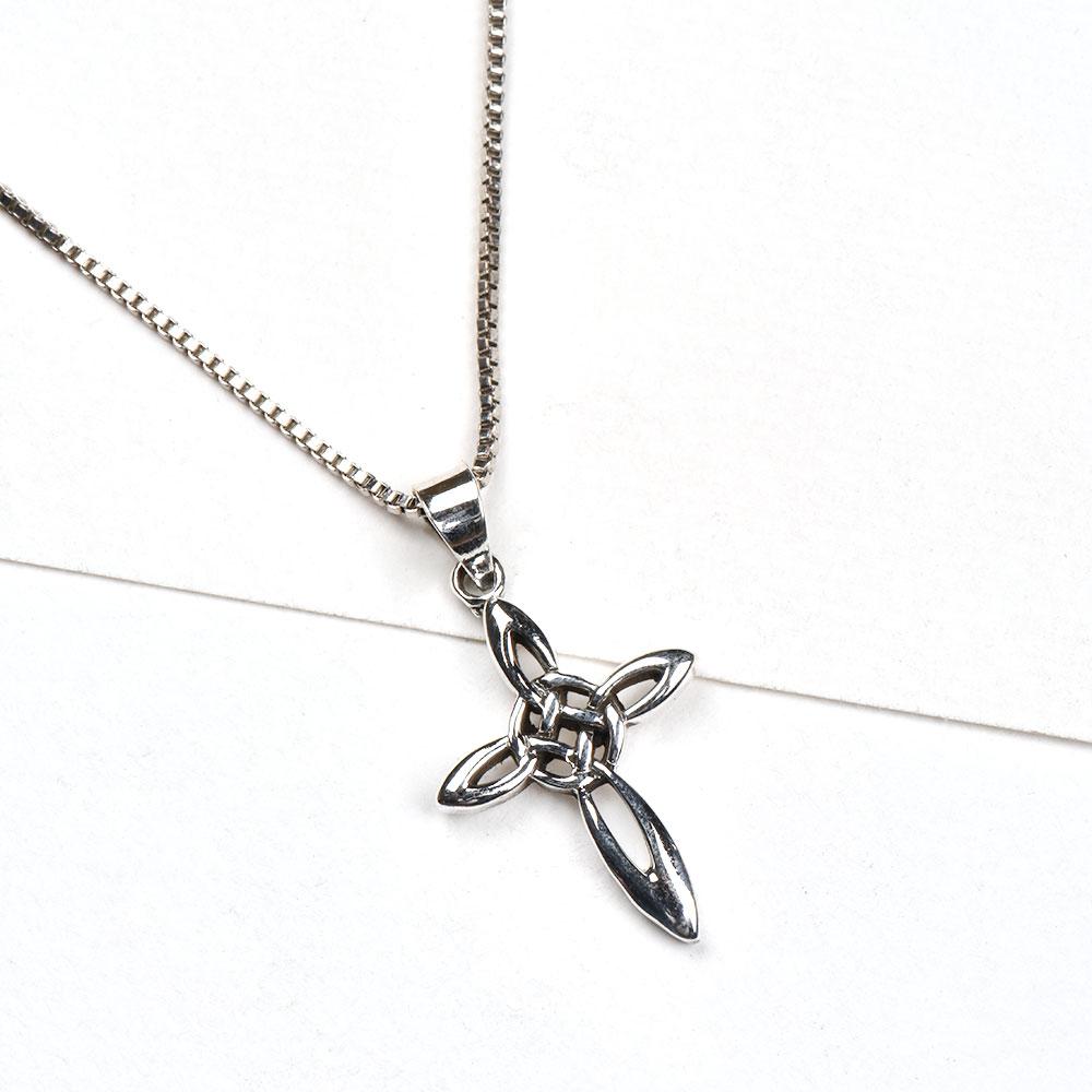 92.5 Sterling Silver Pendant Mystic Triple Trinity Cross Design