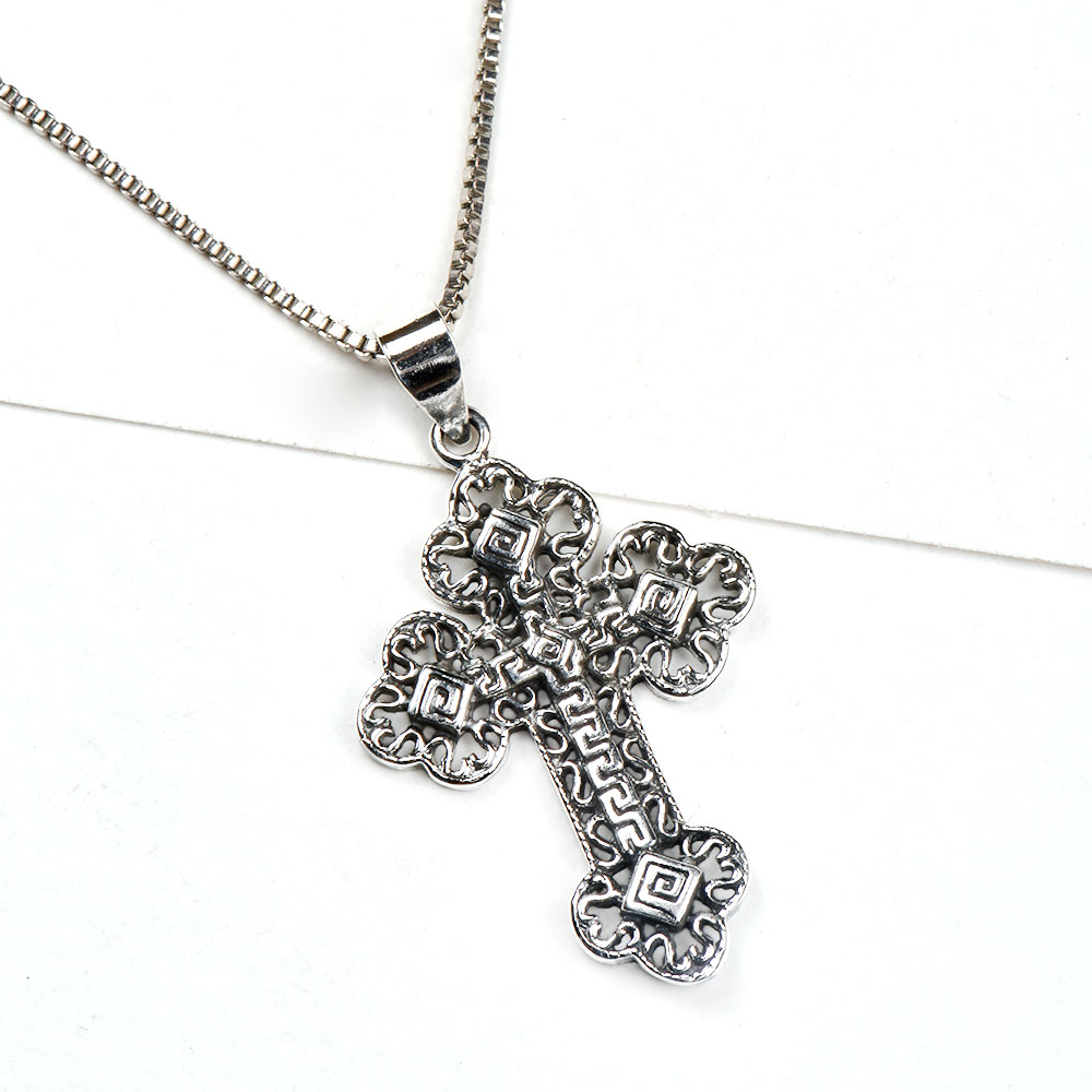 92.5 Sterling Silver Pendant Holy Cross Designer Maize Jewelry