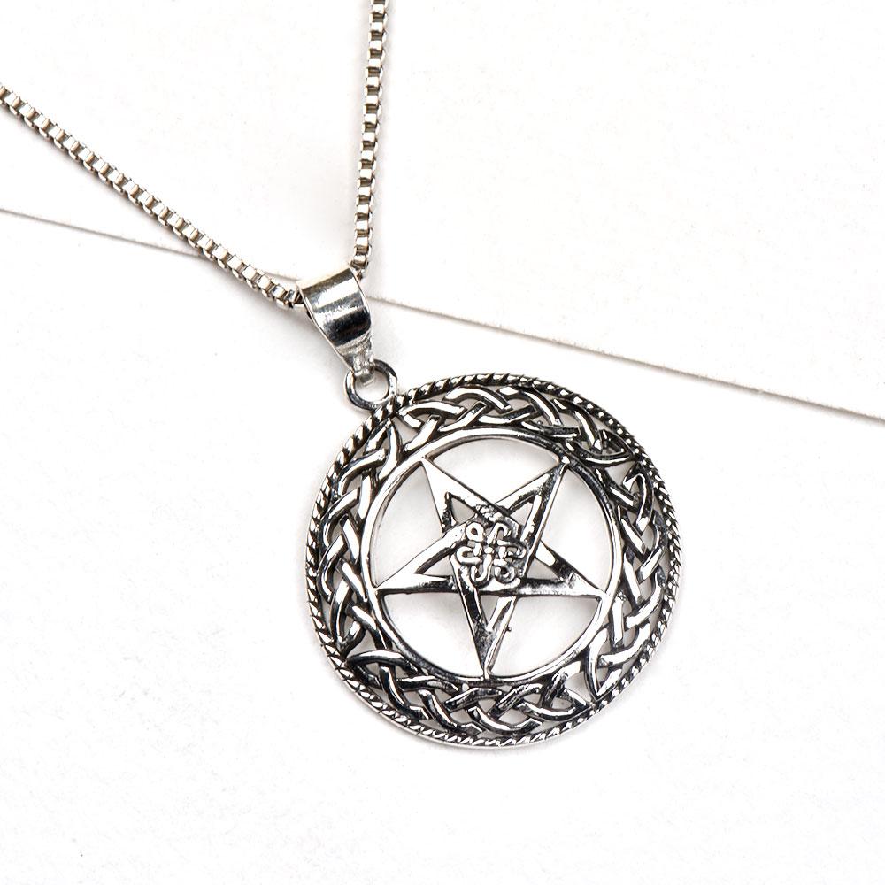 92.5 Sterling Silver Pendant Round Cross Centre Triangle Celtic Knot Border
