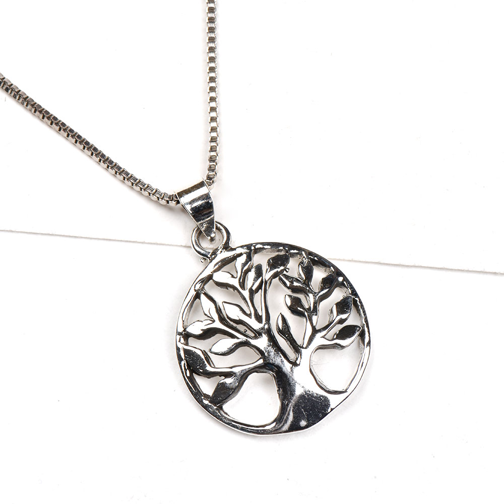 92.5 Sterling Silver Pendant With Circle Of Life In a Delicate Round Frame