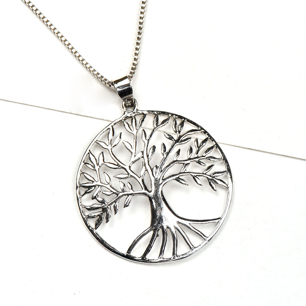 92.5 Sterling Silver Pendant Tree Of Life In A thin Circular Border