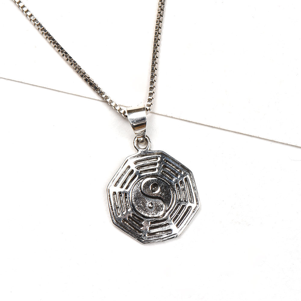 92.5 Sterling Silver Pendant I Ching yin Yang Symbol Engraved Pendant Jewelry