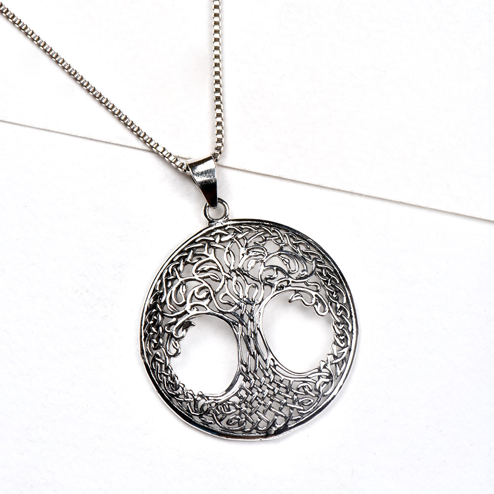 92.5 Sterling silver Pendant Tree of Life Continuous Celtic Knot Design