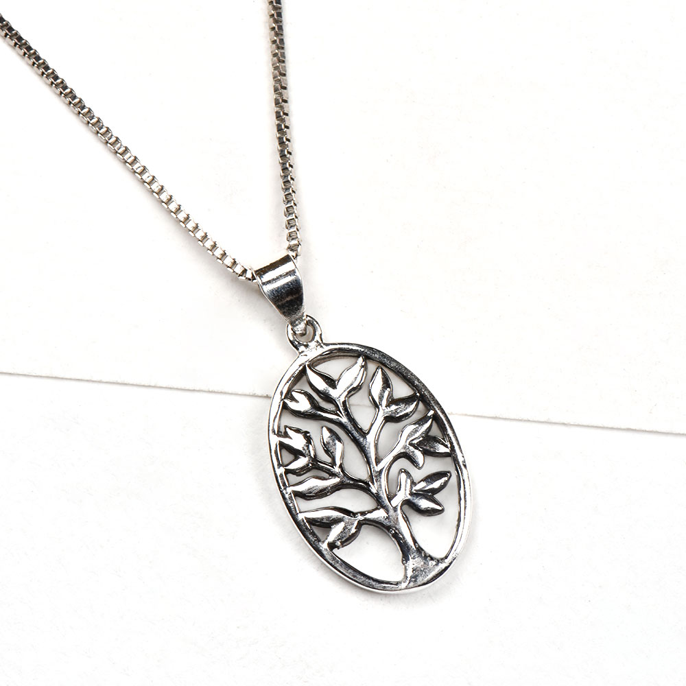 Oval 92.5 Sterling silver Pendant with Tree Of Life Design Inside The Ring