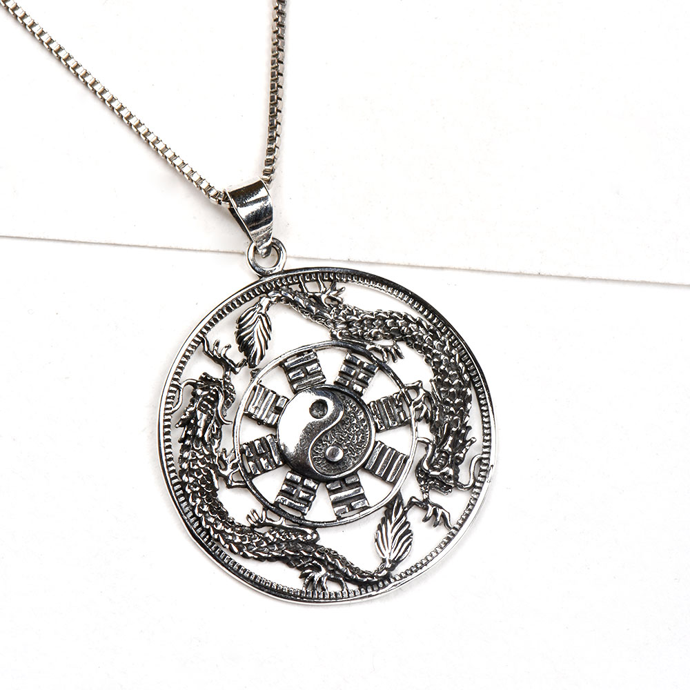 92.5 Sterling Silver Pendant Ying Yang In Centre And Brick Dragon Design