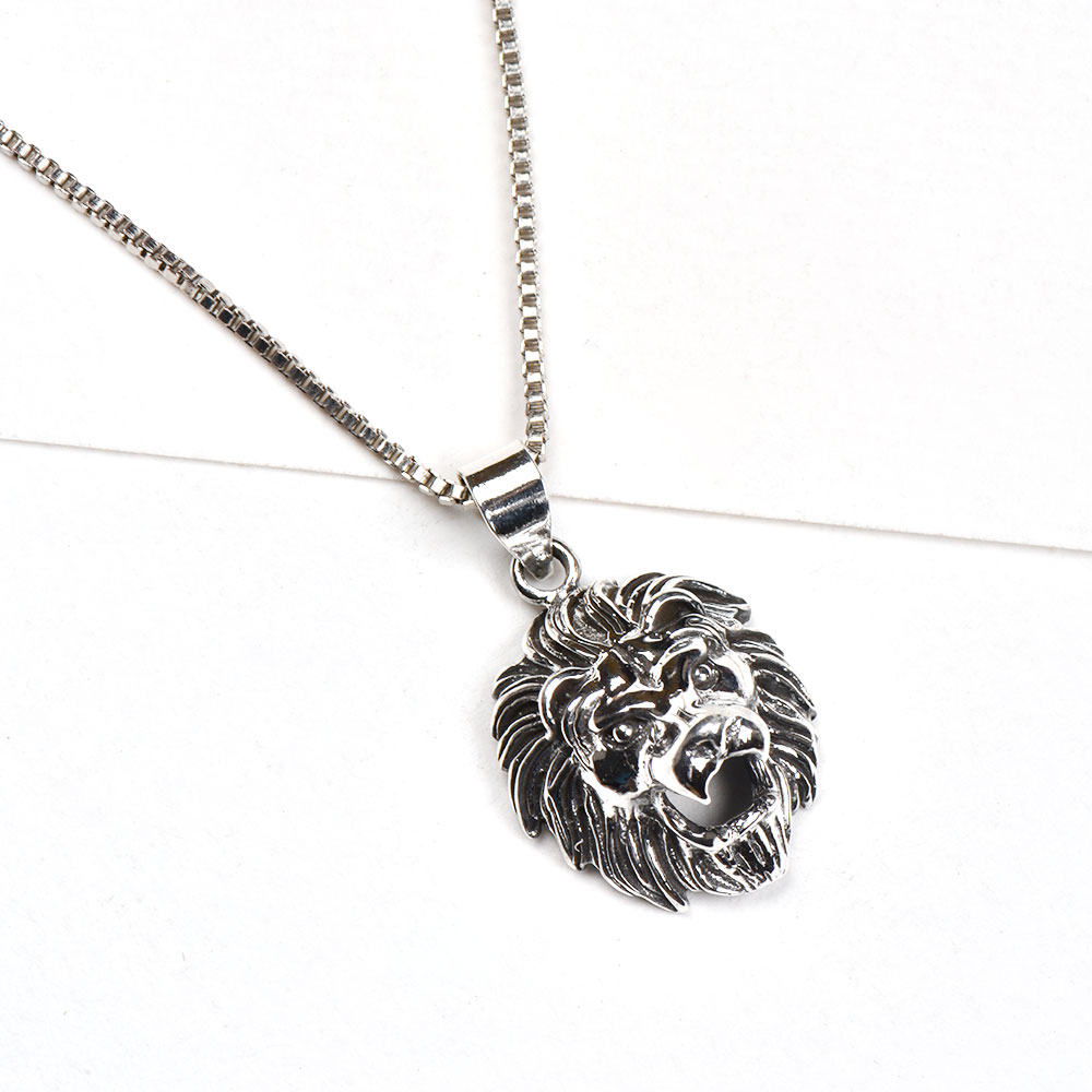 92.5 Sterling Silver Handcrafted Pendant Roaring Lion Statement jewelry