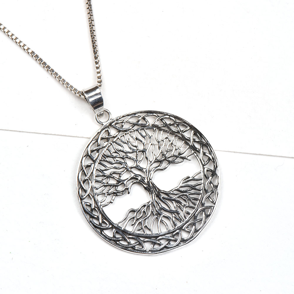 92.5 Sterling Silver Pendent Tree Of Life With Branches And Roots With Celtic Knots Border