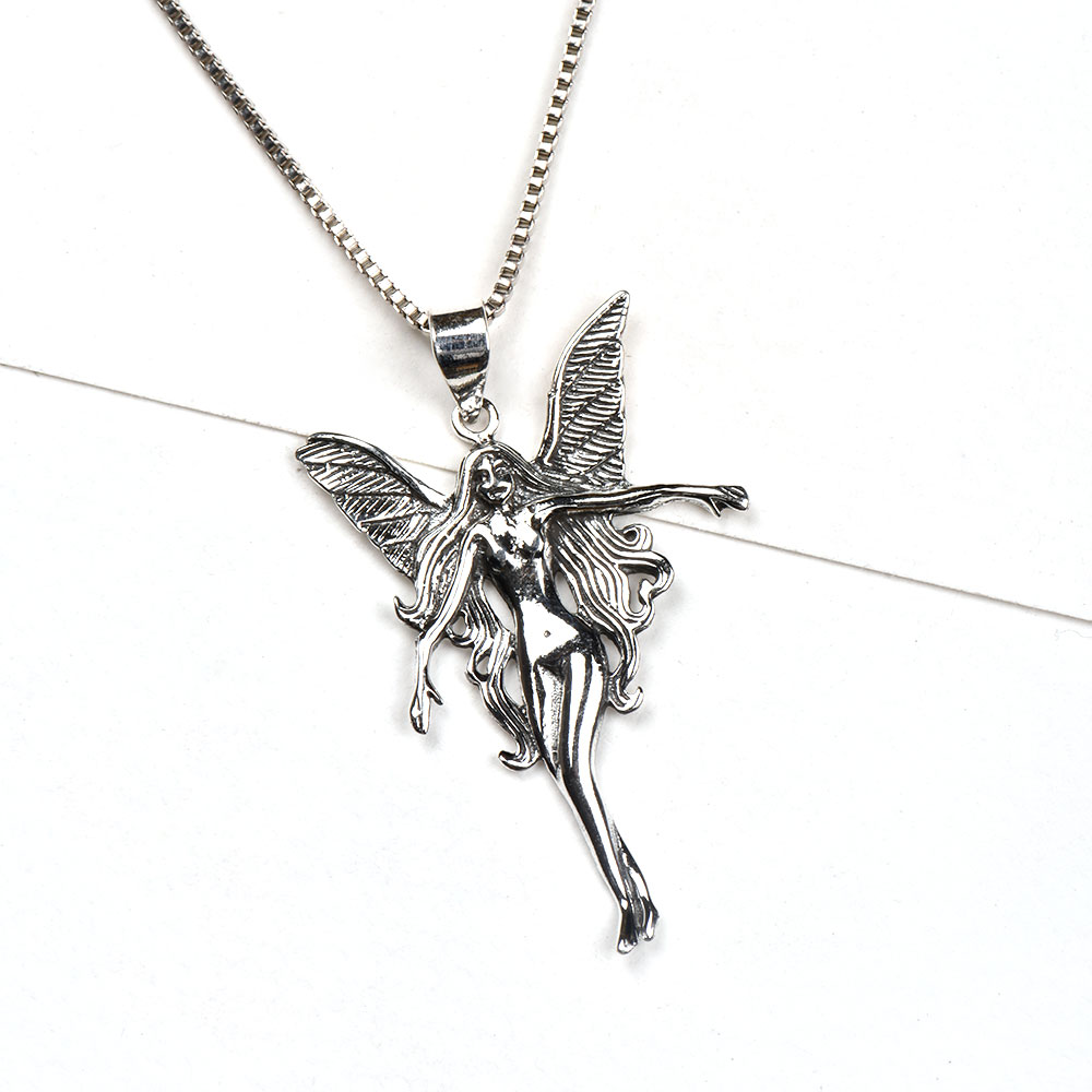 92.5 Sterling Silver Pendant Guardian Angel For Good Luck