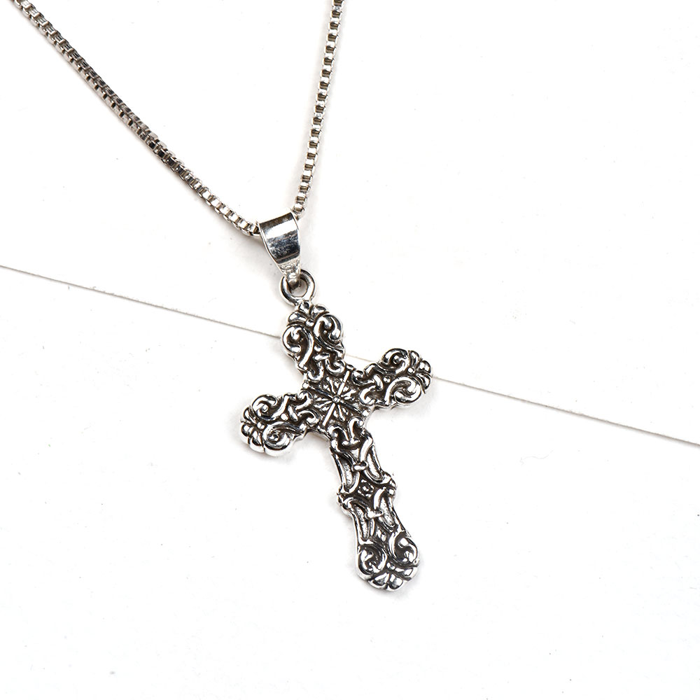 92.5 Sterling Silver Pendant Embossed Design Holy Cross Pendant