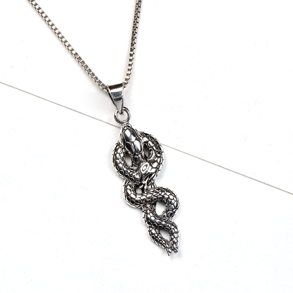 Handcrafted 92.5 Sterling Silver Snake Coiled Pendant