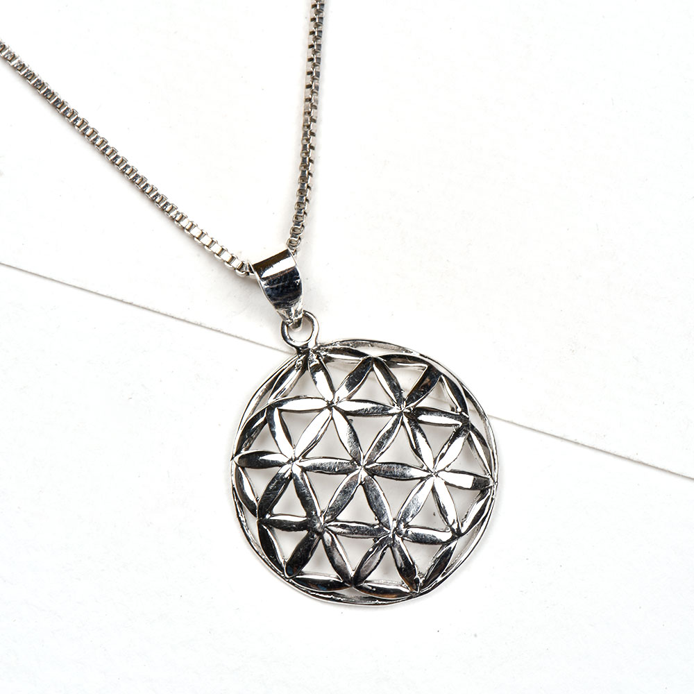 92.5 Sterling Silver pendent Sacred Geometric Flower Of Life Fashion Accessory