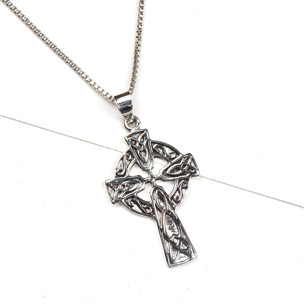 92.5 Sterling  Silver Pendant Holy Cross Celtic Design Fashion Jewelry