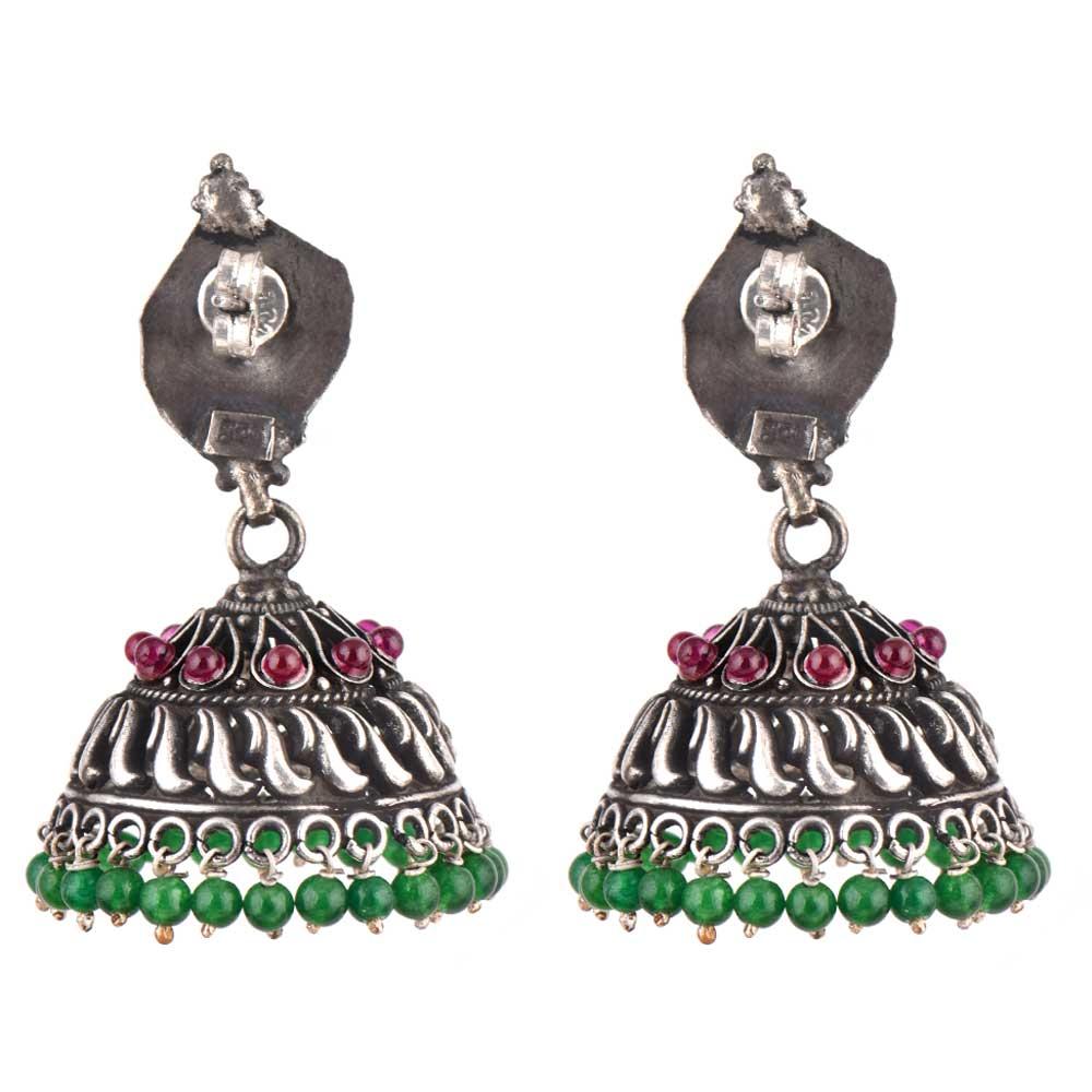 92.5 Stering Silver Earrings Tribal Stud Amethyst And Green Onyx Stone Jhumki