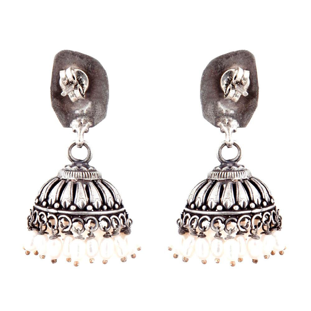 92.5 Sterling Silver Earrings Peacock Engraved Stud Tribal Jhumki Pearl Beads