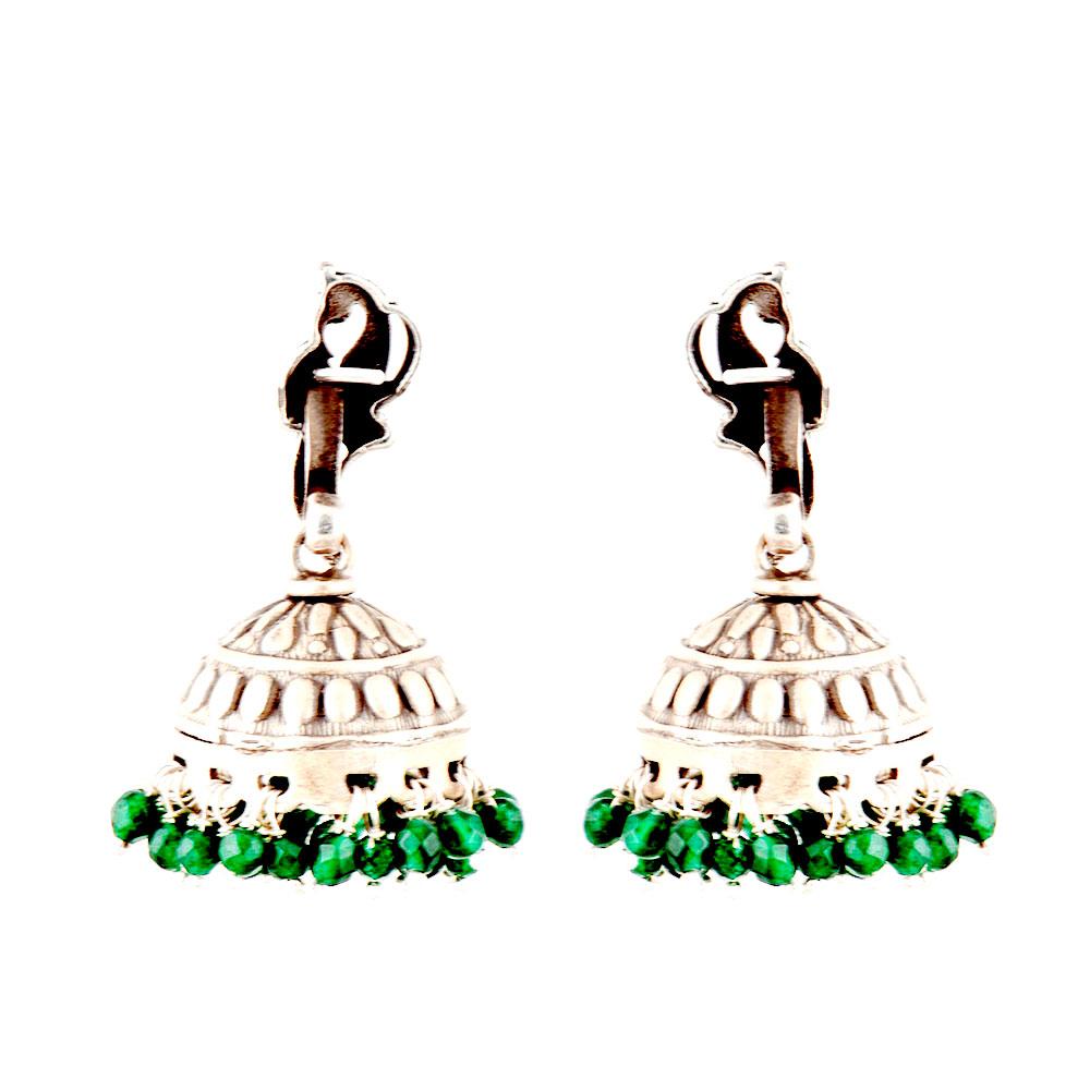 92.5 Sterling Silver Earrings Standing Peacock Engraved jhumkis Green Onyx Beads Tassels