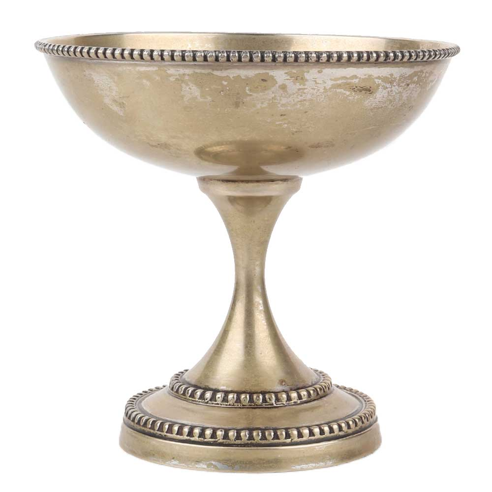 Brass Oil Lamp With Silver Polish On Stand