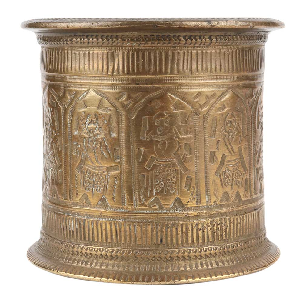 Brass Water Cup With God Figurines Engraved Holy Water cup
