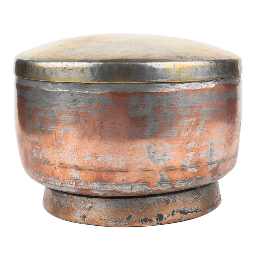 Indian Footed Copper Bowl With Lid