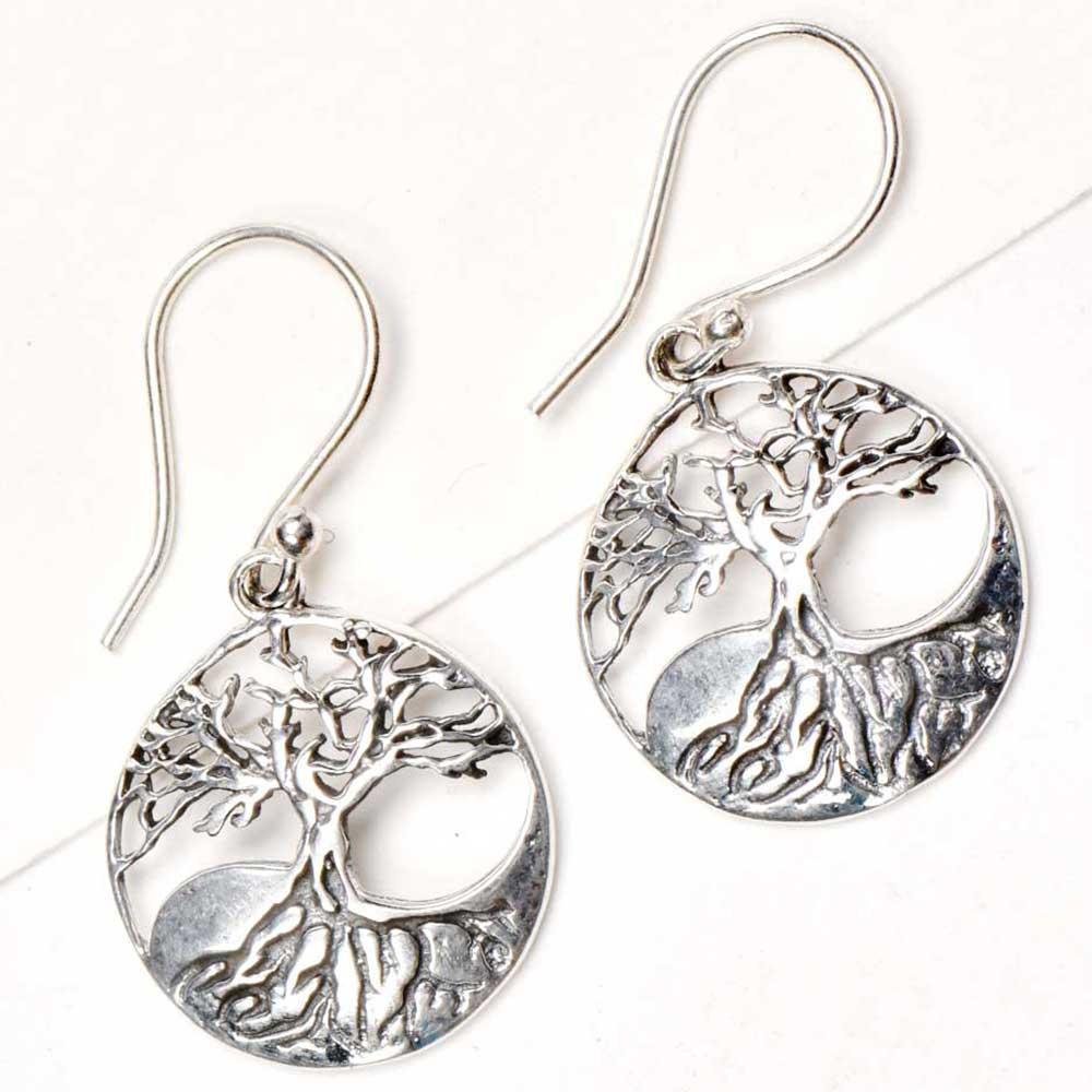 92.5 Sterling Silver Earrings Tree Of Life Wide With Long Roots Drop Earrings