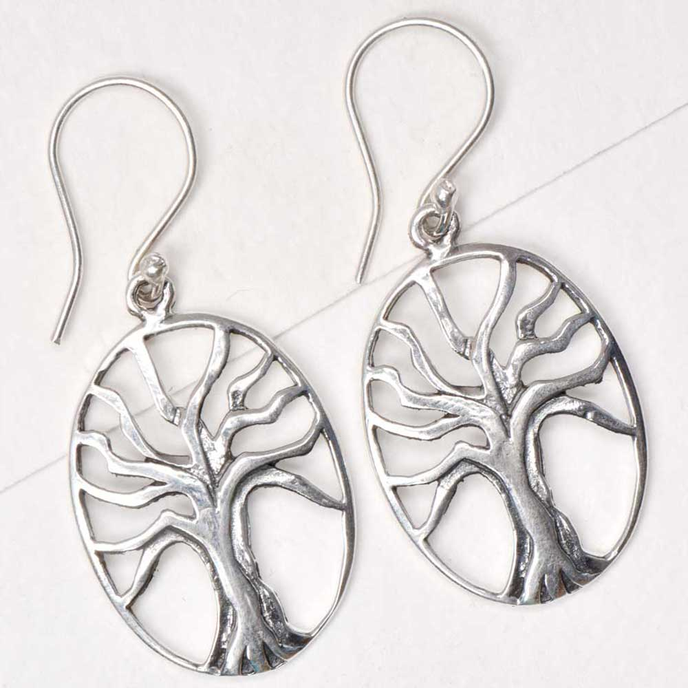 Round 92.5 Sterling Earrings With Single Tree of Life Motif