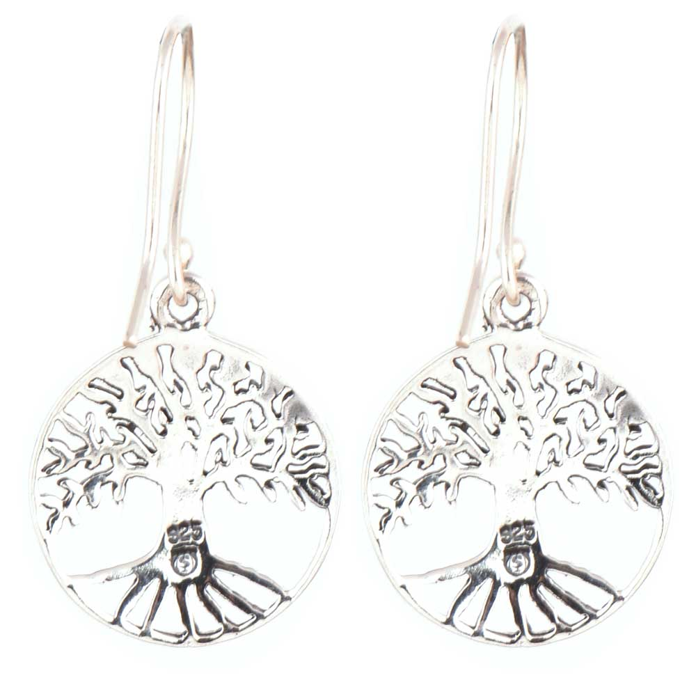 92.5 Sterling silver Earrings Tree Of Life Wide Branches Long Roots