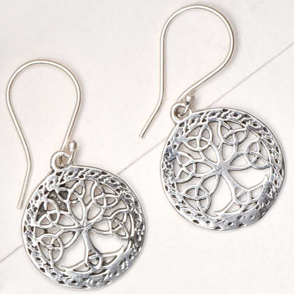 Round 92.5 Sterling Earrings Knotted Tree of life Etched Design Border