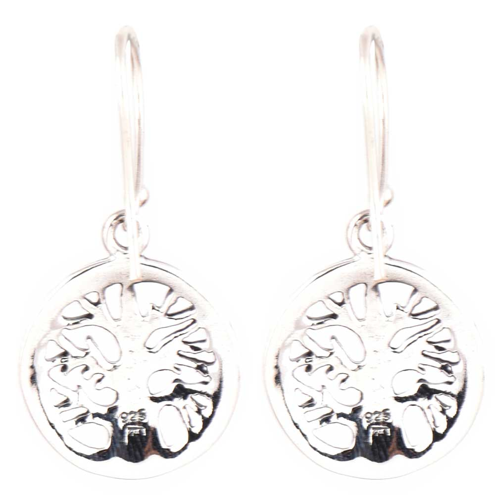 Round 92.5 Sterling Silver Earrings Old Tree of Life Motif With Cross stitch Design Border