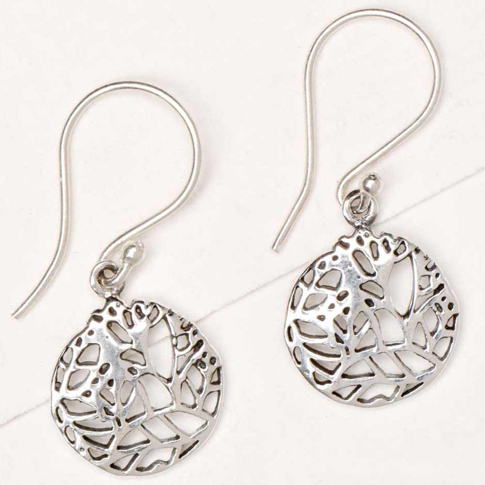 Round 92.5 Sterling Silver Earrings Geometric Design Design Drop Earrings