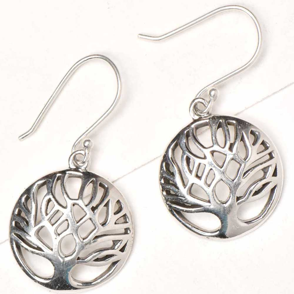 Round 92.5 Sterling silver Earrings Tree of Life in Round Circular Frame