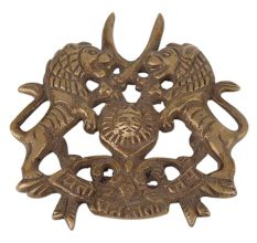 Brass Wall Hanging with Carved Two Lion Hunting Raj put Logo Design