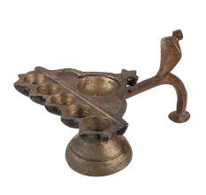 Brass Oil Lamp  Diya Six Cavity Cobra Head Diya Stand