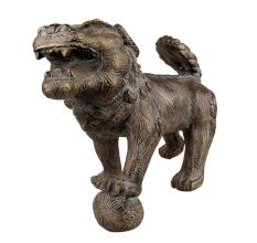 Brass Foo Dog Lion Playing Ball Statue Home Décor