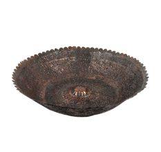 Handmade Copper Bowl Engraved Floral Scalloped Design