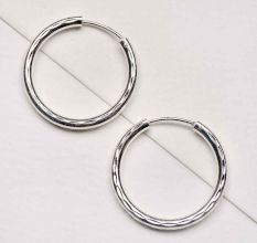 92.5 Sterling Silver Hoop Earrings Textured Bali For Women