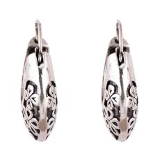 Floral 92.5 Sterling Silver Earrings Bali Hoop Earrings