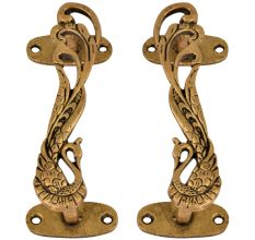 Designer Brass Door Handles Peacock With Long Feathers In Pair