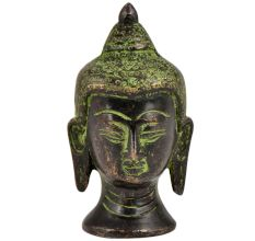 Brass Buddha Head Statue With Eyes Closed Green Patina Finish