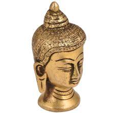 Golden Brass Buddha Head Statue In Meditation Pose