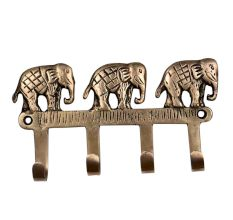 Handmade Three Brass Elephants Four Wall Hook For Home Decoration