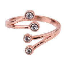 92.5 Sterling Silver Toe Ring  Branched Four American Diamond Studded Jewelry With Rose Gold Finish (Pair)
