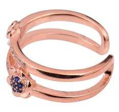 Adjustable92.5 Sterling Sliver Toe Ring Tanzanite Studded floral Delight With Rose Gold Polish (Pair)