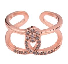American Diamond Studded92.5 Sterling Silver Toe Ring Adjustable With Rose Gold Polish