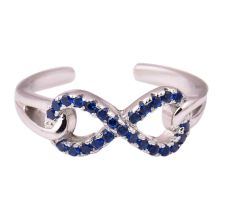 92.5 Sterling Silver Infinity Toe ring Open able Studded Tanzanite Glamorous Women jewelry (Pair)